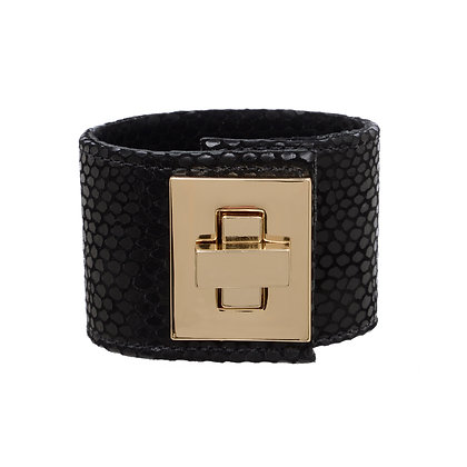 leather large rectangle lock cuff