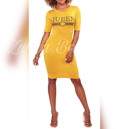 Queen Print Bodycon Plus Size Dress