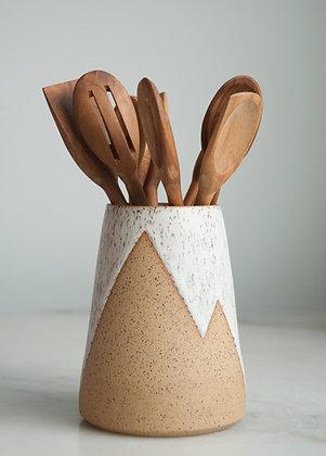 Peaks white vase/ utensil holder large