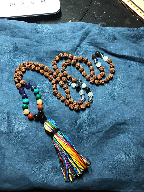Rainbow Mala with Rainbow Tassel