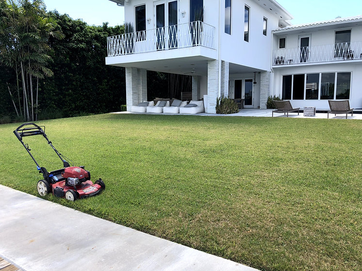 Mowing costumers back yard