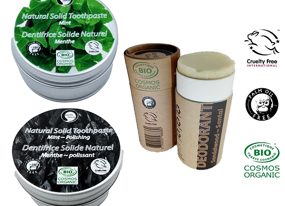 Earth Sense Organics Package: Palm Oil Free Natural Deodorant & 2 x Toothpaste
