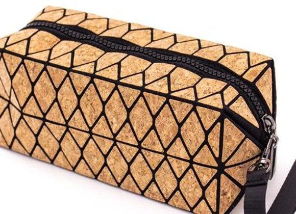 Natural Cork Trendy Geometric Make-up / Washbag Bag by The Cork Shop