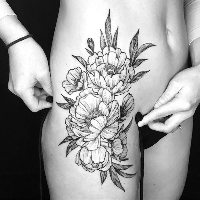 Some blackwork peonies on the badass _tr