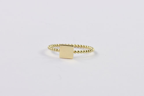 Dotted Square - Gold Ring