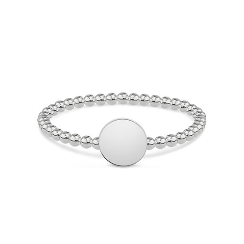 Dotted Round - Silber Ring (small)