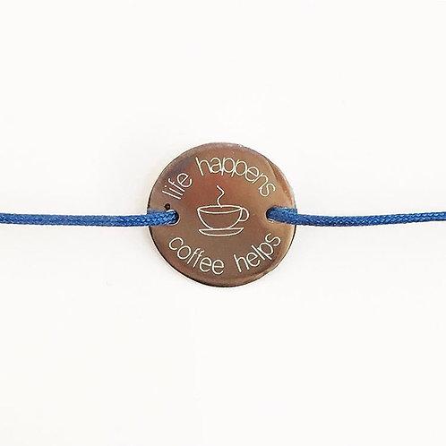 Coffee helps - Gravur Silber Armband