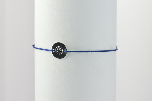 Weltkugel - Gravur Silber Armband