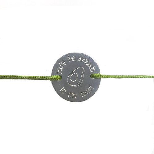 Avocado Toast - Gravur Silber Armband