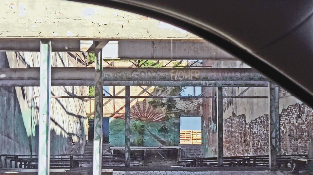 """""""God's Flower Garden"""" – a makeshift outdoor theatre hidden amongst construction rubble in Yazoo, Mississippi."""