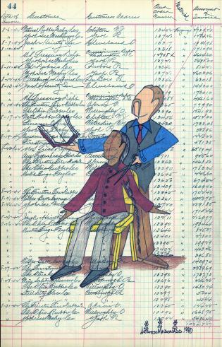 Drawing by Quentin Maldonado. Lakota boy getting his braid cut. He is being chosen a Christian name.