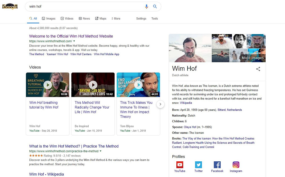 wim hof google search results page