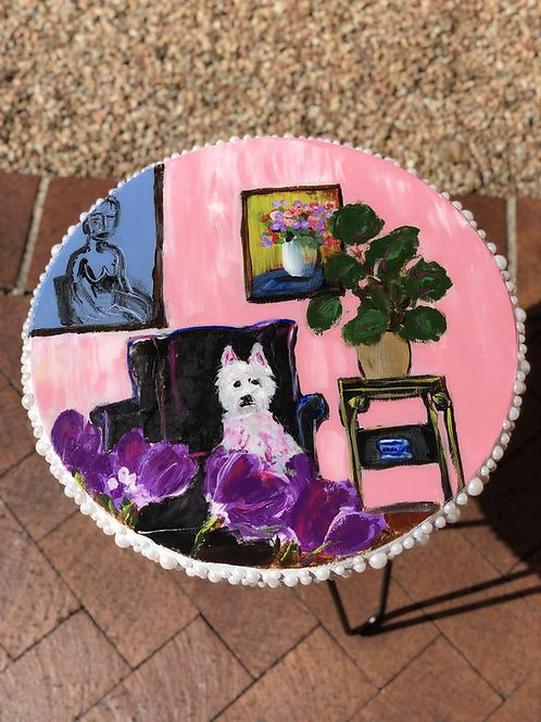 """Pretty Pup in Pink 18"""" Table [SOLD]"""
