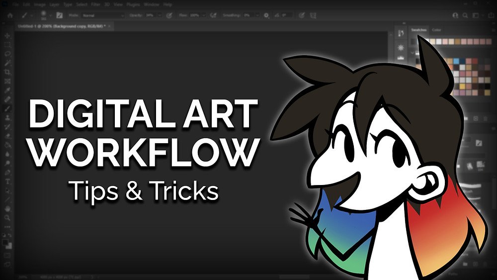 """An image of a Photoshop window. Jessie's avatar is on the right, while the text """"Digital Art Workflow tips and tricks"""" is on the left."""