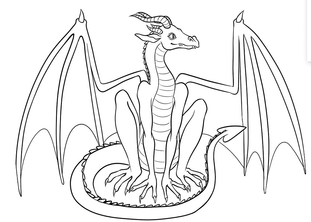 the clean line art of the entire dragon