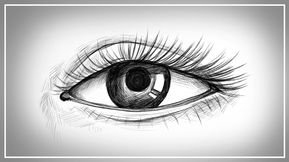 An illustration of a finished realistic eye