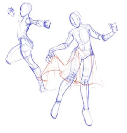 two dynamic poses drawn by Alyssa Wongso, the one on the left has the individual preparing to shoot a bow and arrow, while the figure on the right holds their skirt in the hand on the left while twirling.