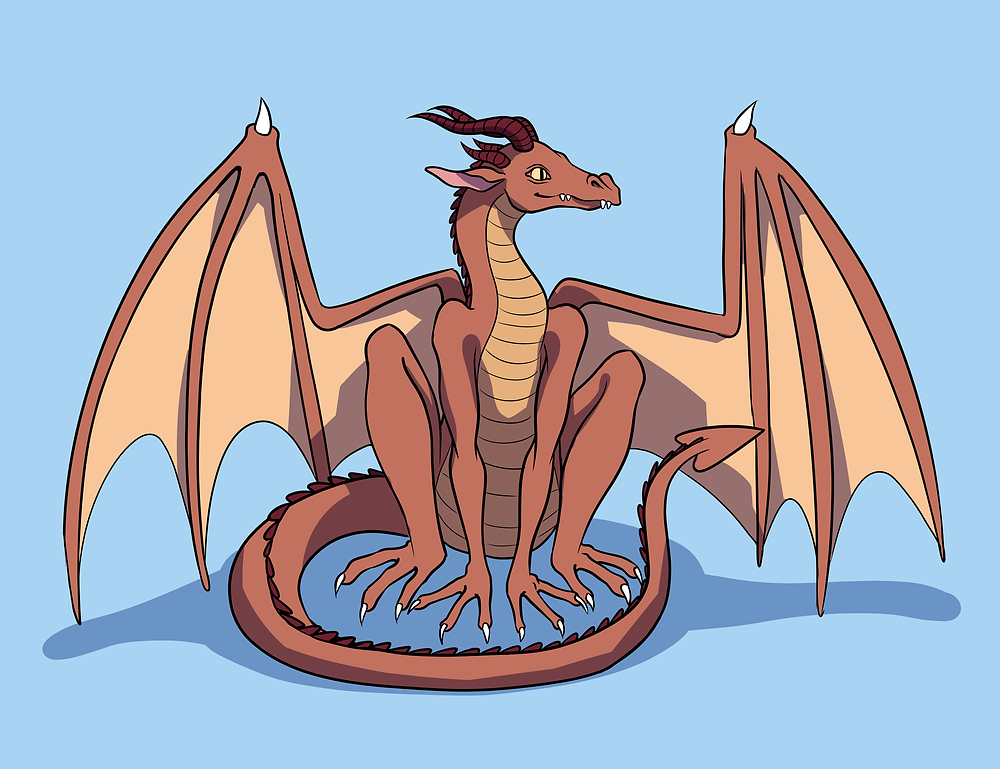 an illustration of a sitting orange dragon on a blue backdrop