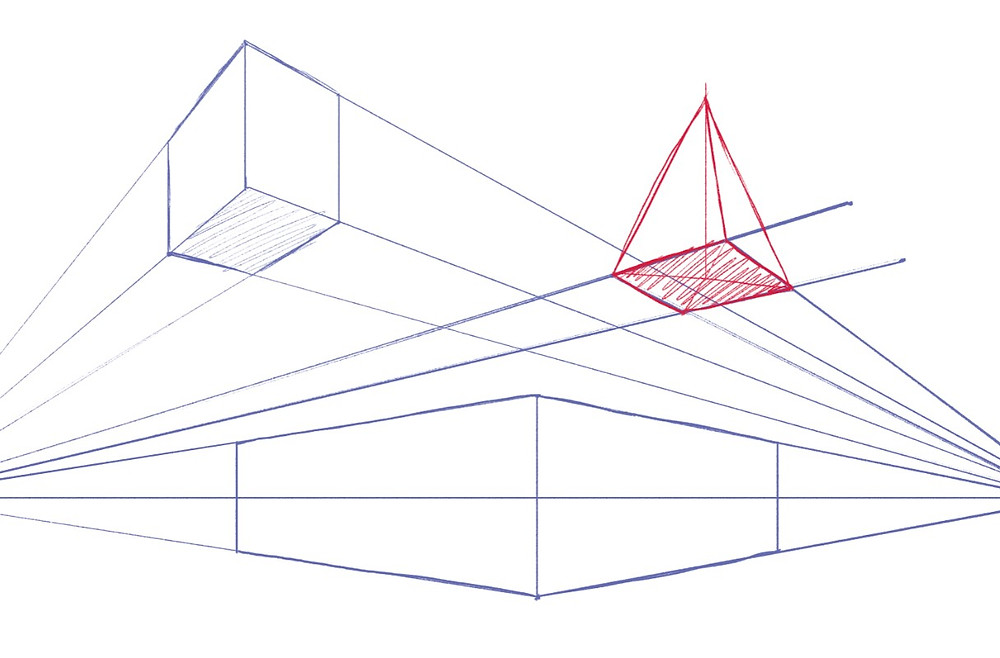 Illustrations of boxes and a pyramid in two point perspective. Guidelines are left on the sketch.