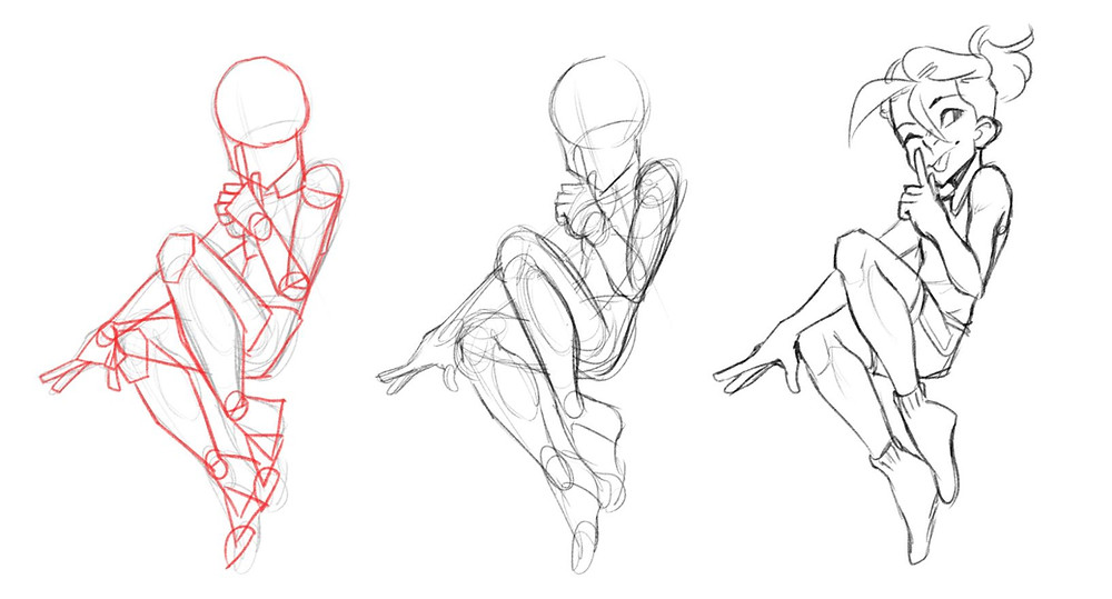 A character broken down into their shapes, drawn by Jessie Chang. The first figure is drawn with completely geometric shapes, the second is drawn with more stylized shapes and the last is the finished figure.