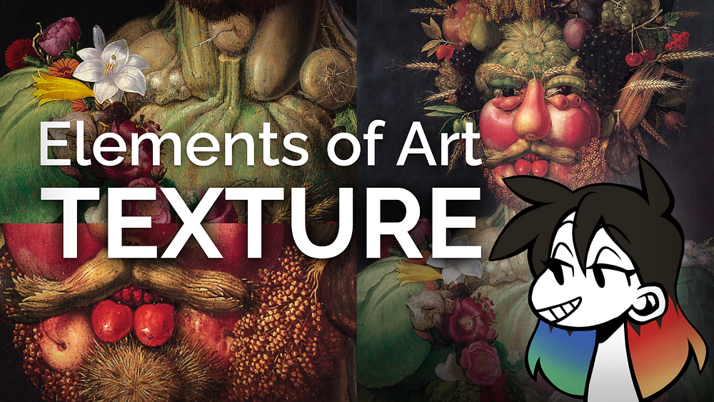 """A background collage of Vertumnus by Giuseppe Arcimboldo. jessie's avatar is in the bottom right corner, and the text """"Elements of Art: TEXTURE"""" are in a bold white font to the left"""