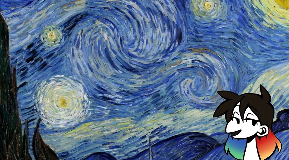 A close up of Starry Night by Vincent van Gogh. Jessie Chang's avatar is placed in the bottom right