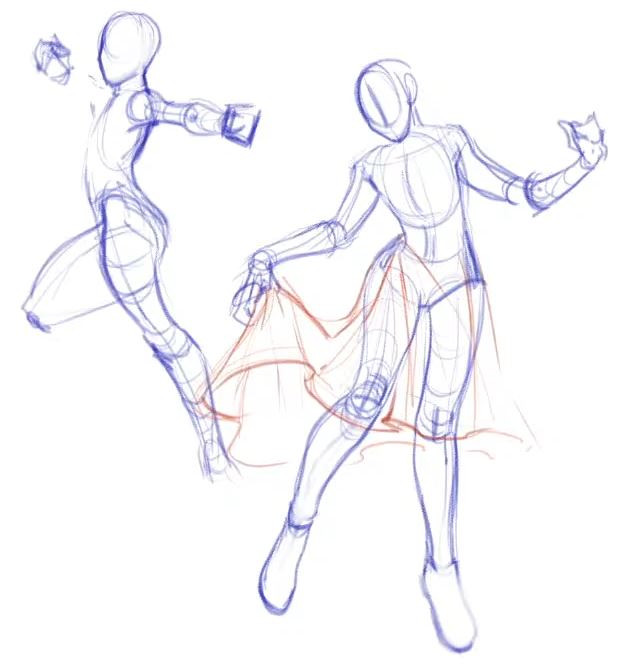 Two drawn dynamic poses by Alyssa Wongso.