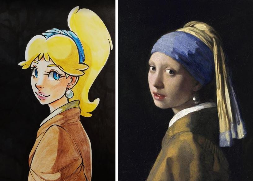 A parody piece of Girl with a Pearl Earring by Johannes Vermeer. The girl is Princess Peach.