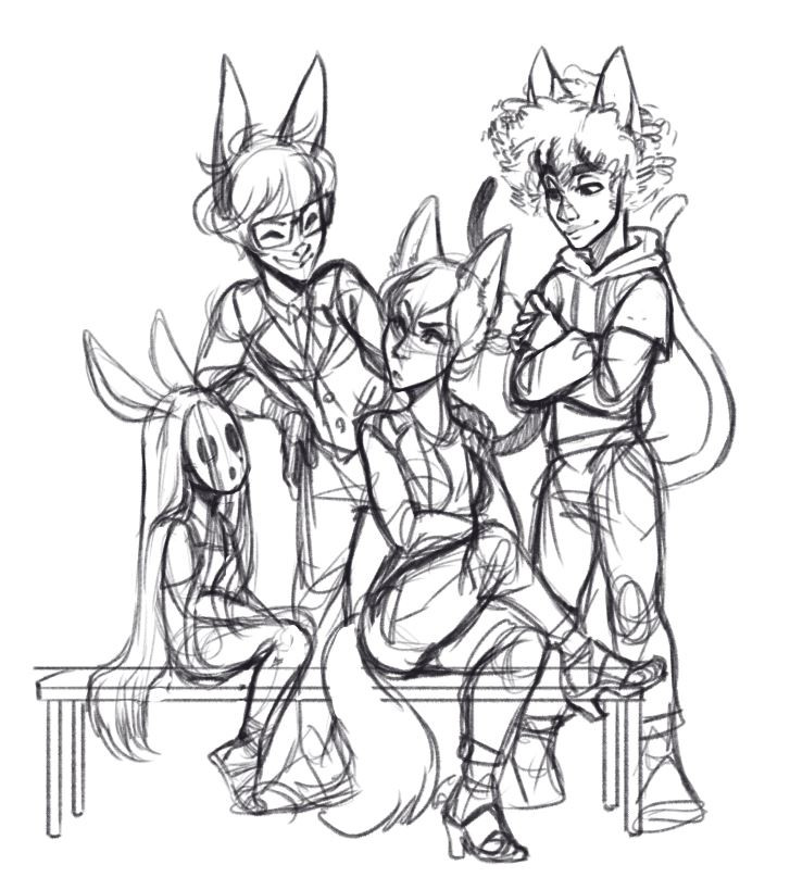 A sketch of gijinkas for (left to right) Coco, Raymond, Whitney and Bob, illustrated by Jessie Chang