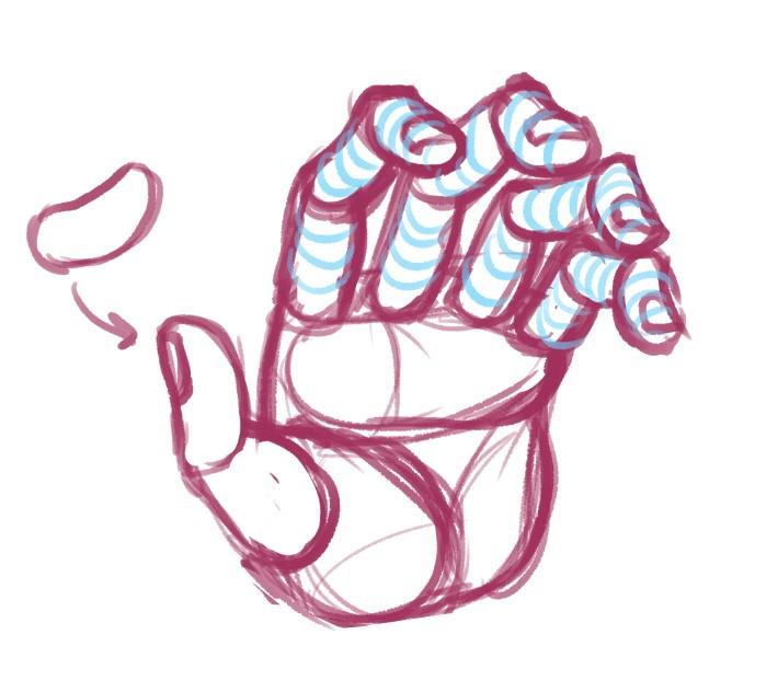 a hand drawn using the bean technique
