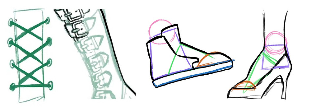 four images. The first is laces going through eyelets, the second is many different buckles on a shoe, the third is a very simple drawing of a sneaker, and the fourth is of a high heel