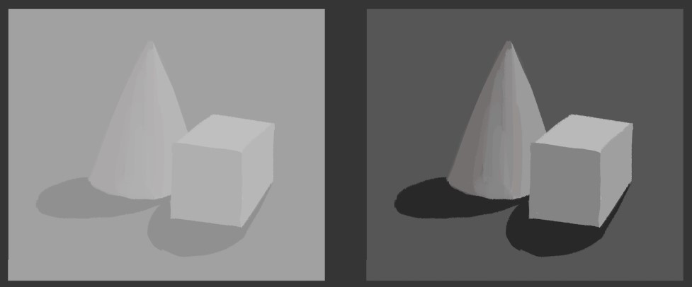 An illustration of a cone and a cube shown twice. On the left, the contrast is very low, while on the right the contrast is quite high.