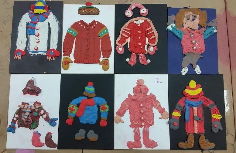 8 sculpted winter outfits in a 2x4 arrangement. All the outfits are sculpted with plasticine.