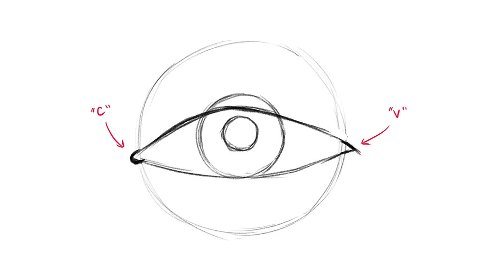 Step 4 of drawing a realistic eye: the inner and outer corners of the eye are drawn