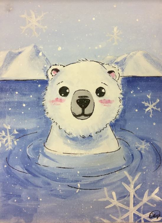 A simple watercolour painting of a polar bear in water. White acrylic snowflakes surround the polar bear.