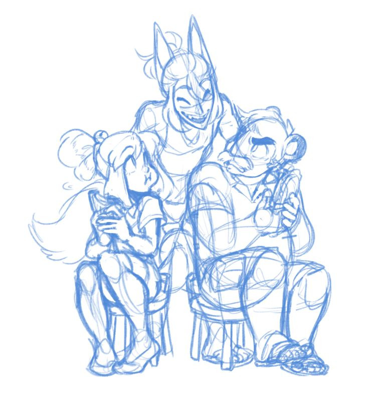 A sketch of (left to right) Isabelle, Redd and Tom Nook's gijinkas, illustrated by Jessie Chang