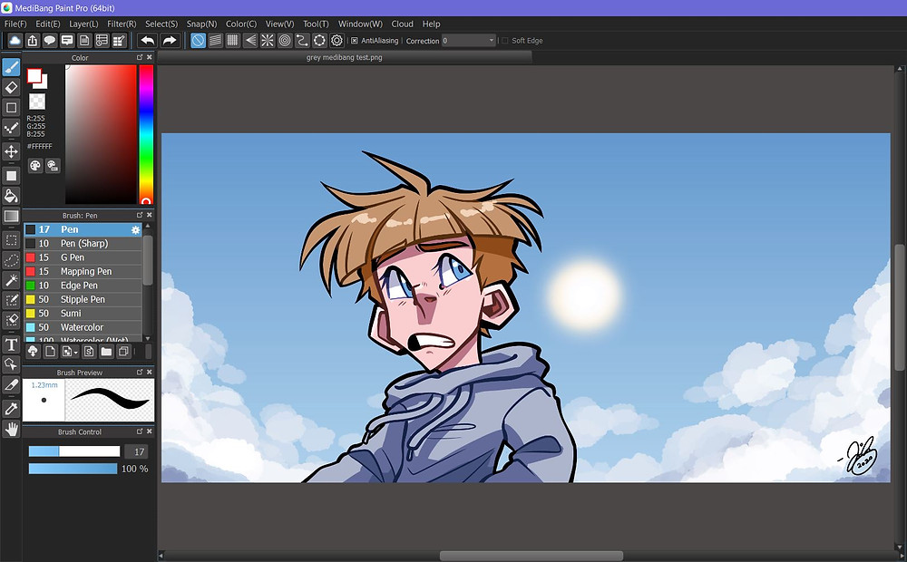 A MediBang Paint Pro window. On the canvas is an illustration by instructor Jessie Chang.