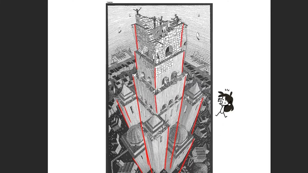 Tower of Babel by M.C. Escher. Red lines are drawn along the building in the center to emphasize the drawn perspective. Jessie's avatar floats on the right of the image