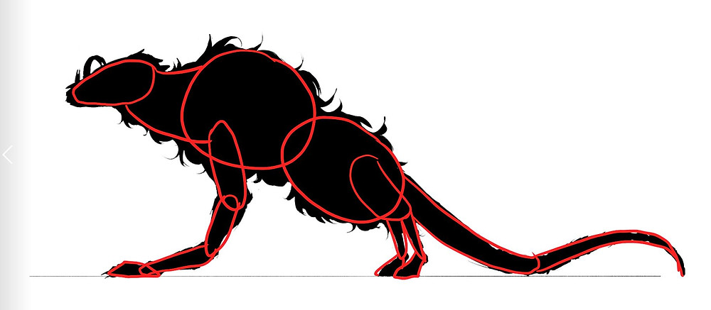 An image of a silhouette drawn by Jessie Chang. The outlines of shapes are drawn directly on top of the silhouette.
