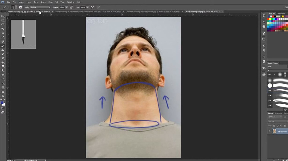 An image of a man looking upwards. His neck is outlined with a cylinder so show off the upwards perspective.