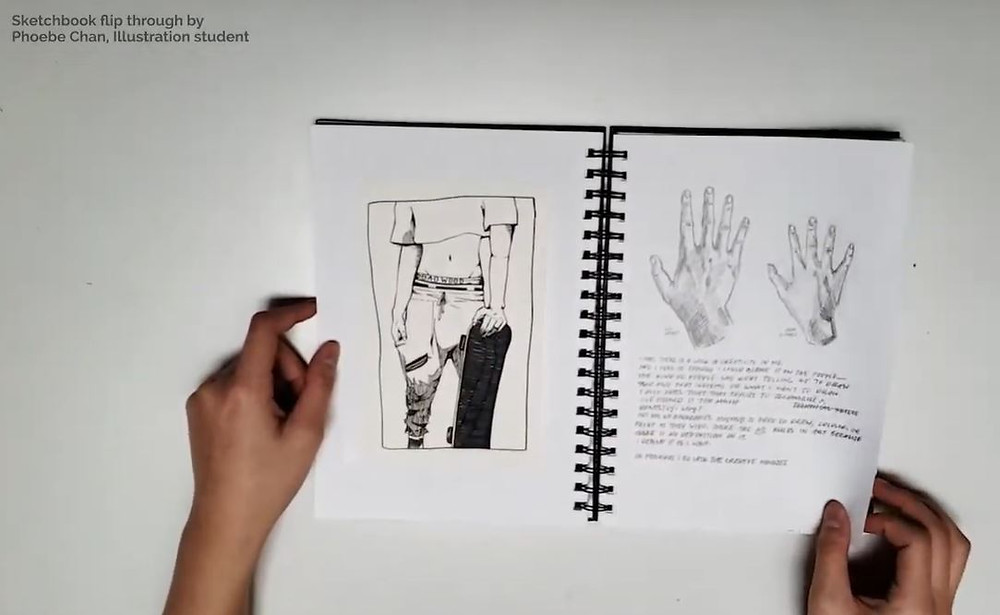 A still of a sketchbook flip through video by Phoebe Chan