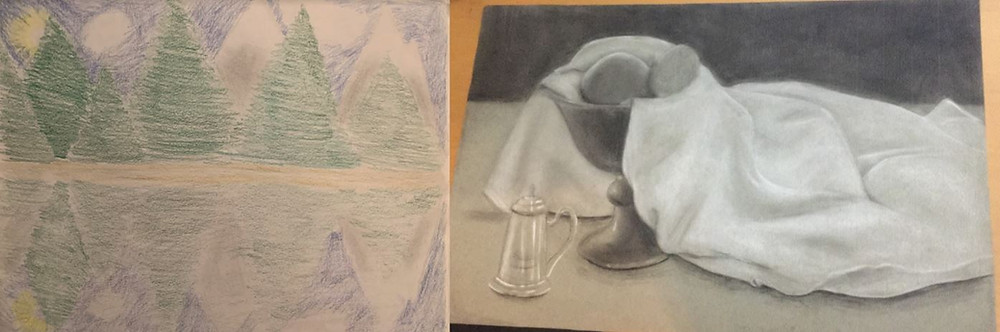 before and after artwork by a student. The before is a somewhat crude drawing of some trees and a lake, while on the right is a realistic still life of a glass, a vase, and a cloth