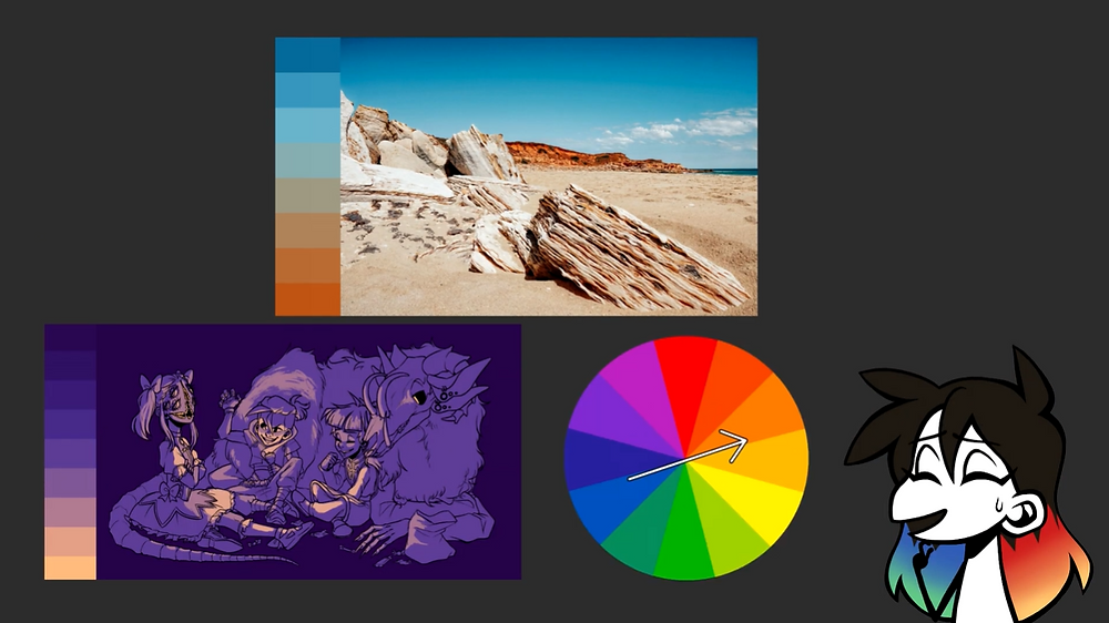 A couple of examples of complementary colour schemes, one drawn by Jessie Chang and the other a photograph. A colour wheel is near the bottom. Jessie's drawn avatar is in the bottom right corner.