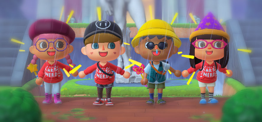 Four animal crossing characters stand in front of Michaelangelo's David, smiling at the camera.