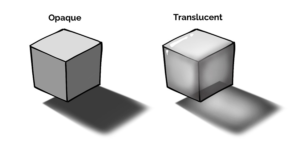 two cubes, one opaque and one transluscent
