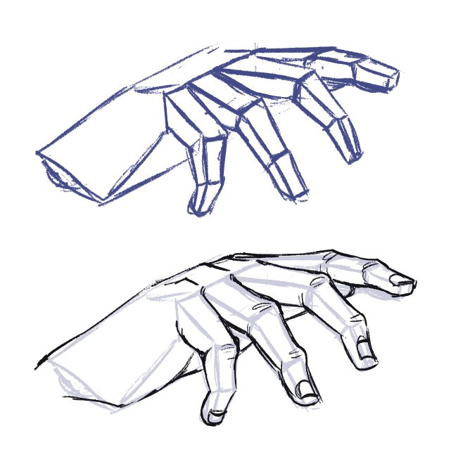 a hand drawn using 3D forms