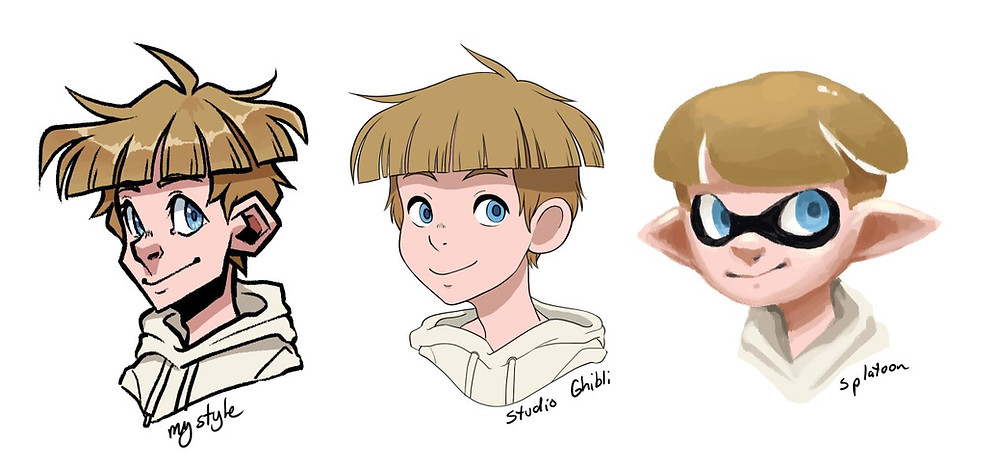 The same character drawn three times in three different art styles