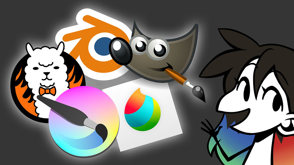 Jessie's icon in the bottom right, gesturing to the logos of various free softwares