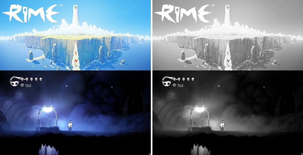 Two screenshots, one of the game Rime, the other of the game Hollow Knight.