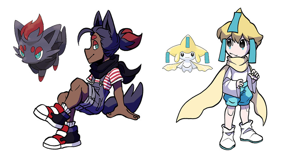 Illustrated gijinkas of the pokemon Zorua and Jirachi with the original pokemon beside them for comparison.